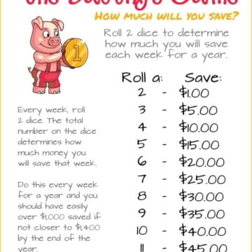The Savings Game - a 52 week savings plan to help you save over $1,000 a year.