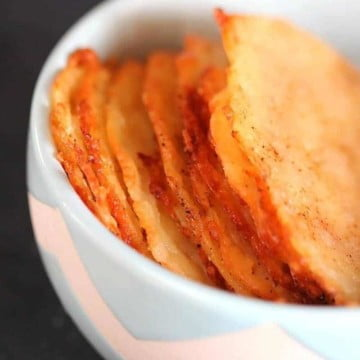 Low Carb Cheese Crisps - super easy to make, these cheese 'chips' are a delicious low carb alternative to chips or crackers.