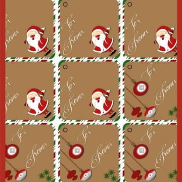 """These cute Santa and retro ornament """"To:/From:"""" Christmas Gift Tags will look great on your presents and under your tree."""