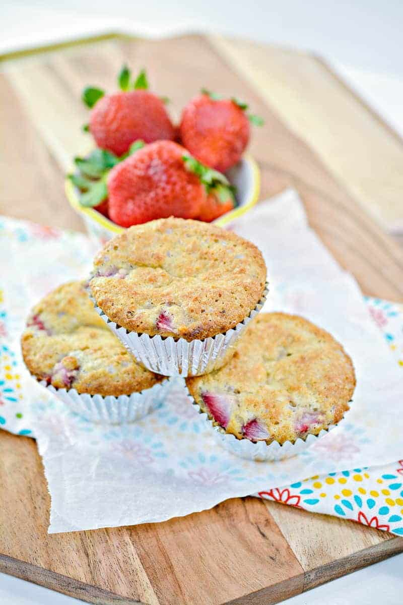 Decadent Keto Strawberry Muffins out of the oven ready to serve.