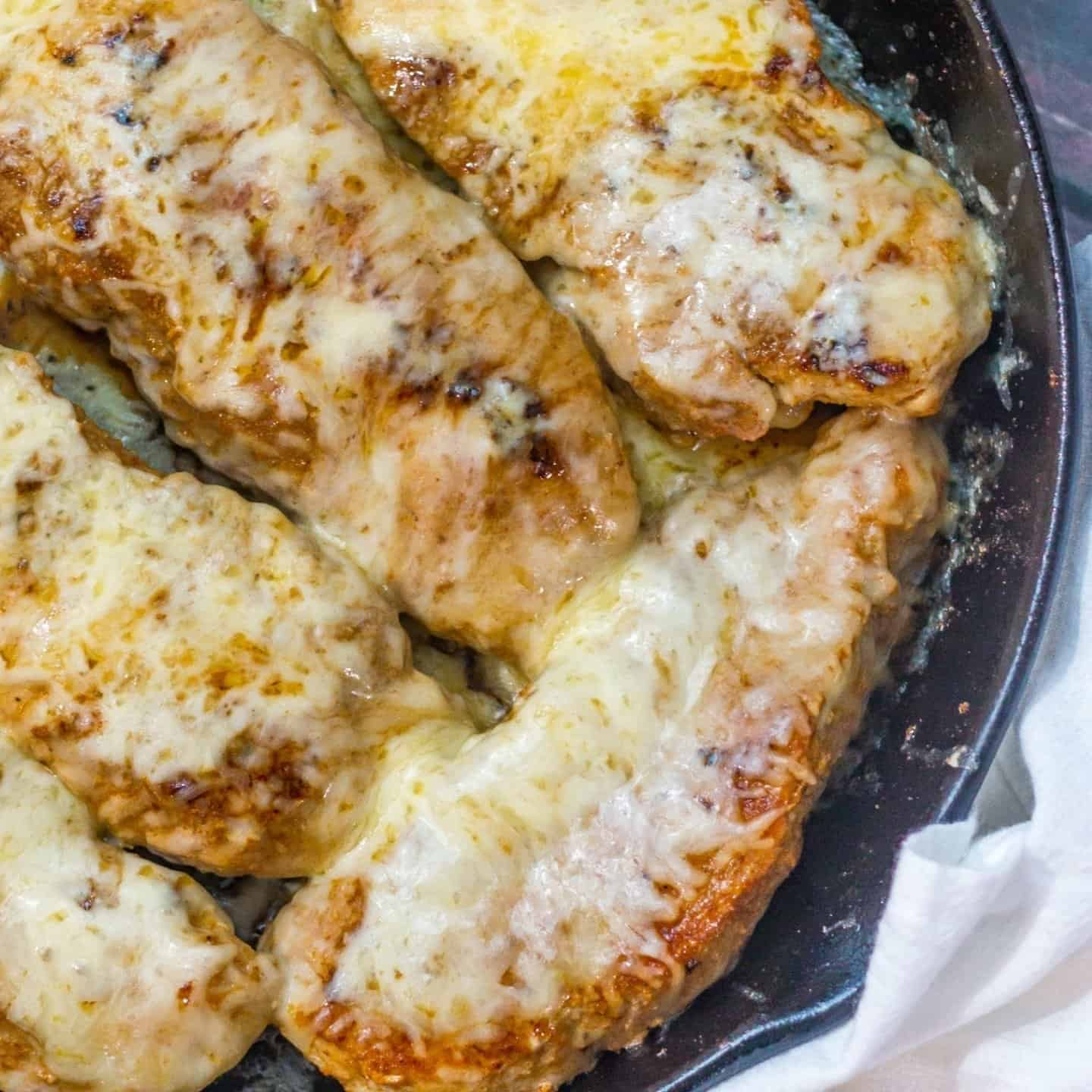 Mexican flavored pork chops in cast iron skillet