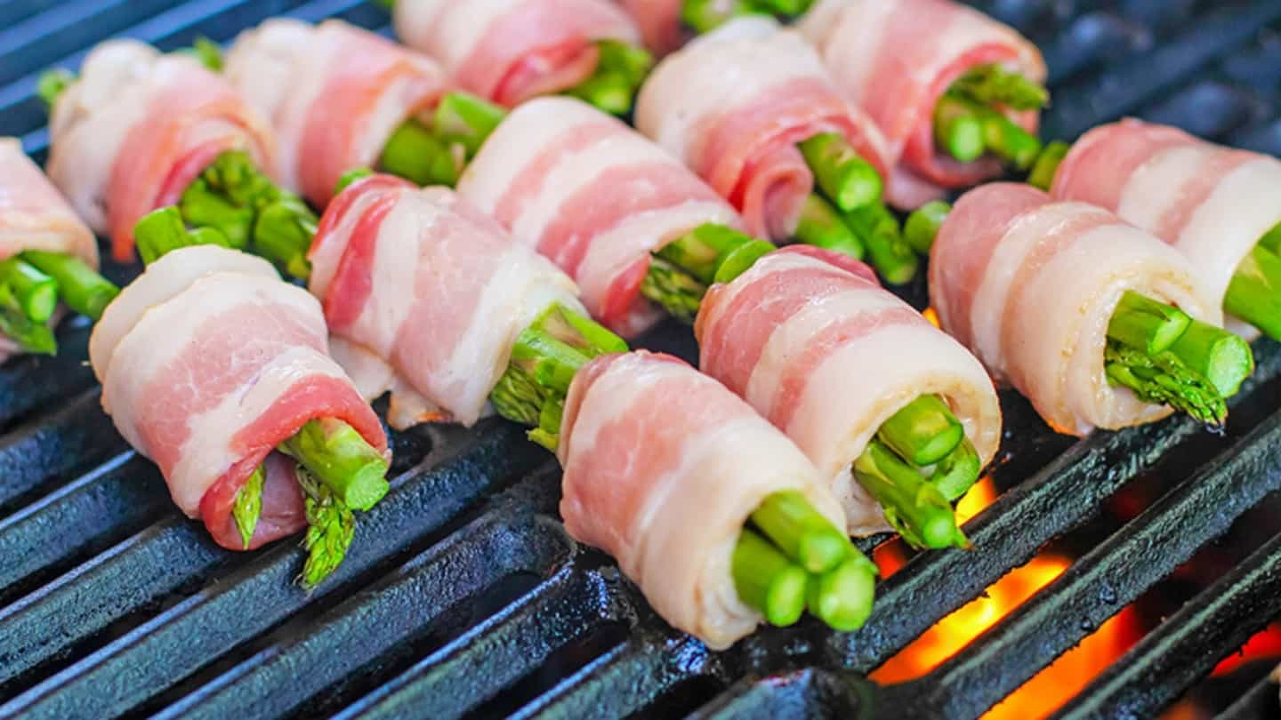 Bacon Wrapped Asparagus grilled
