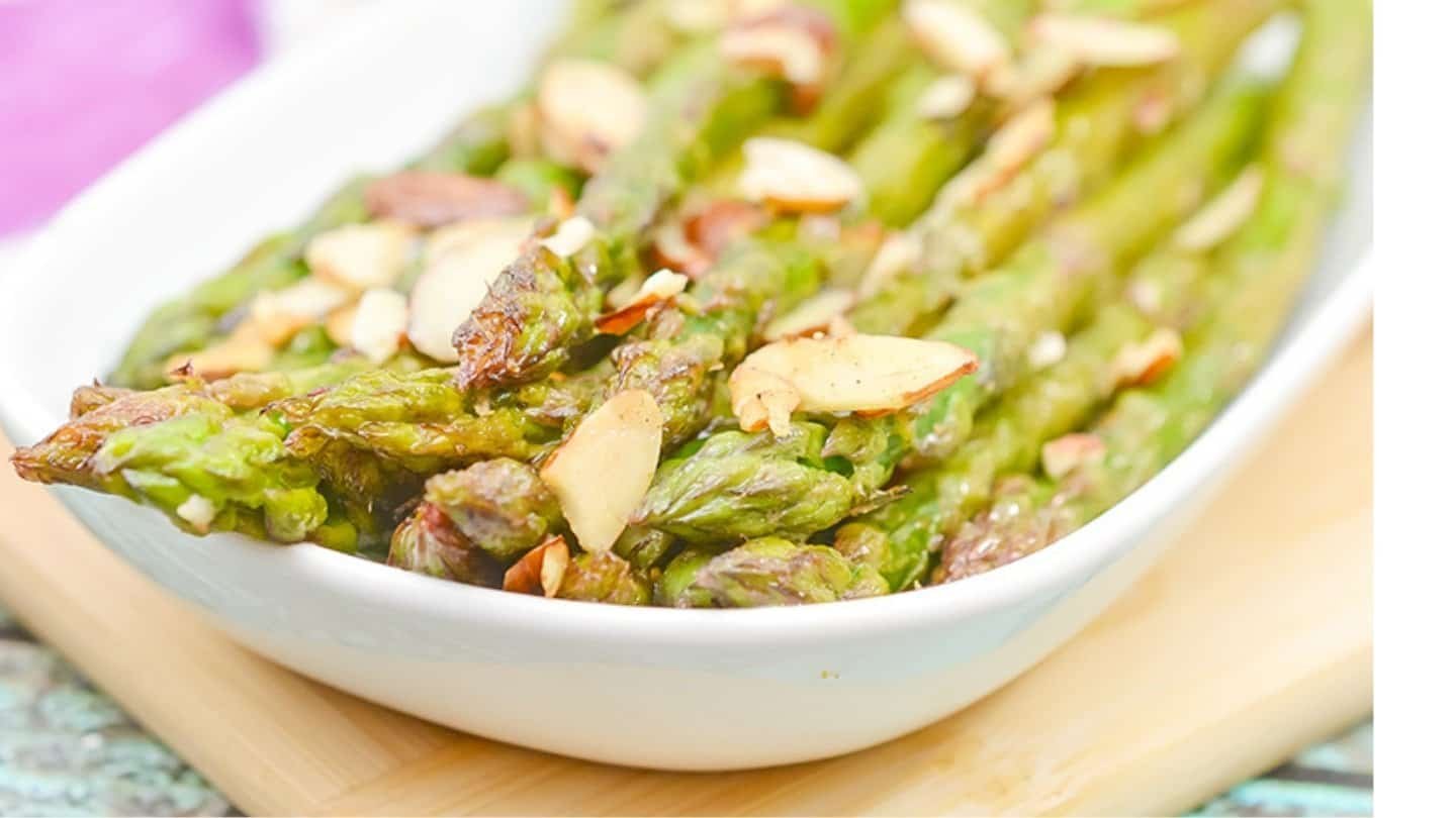 sliced almonds with sauteed asparagus