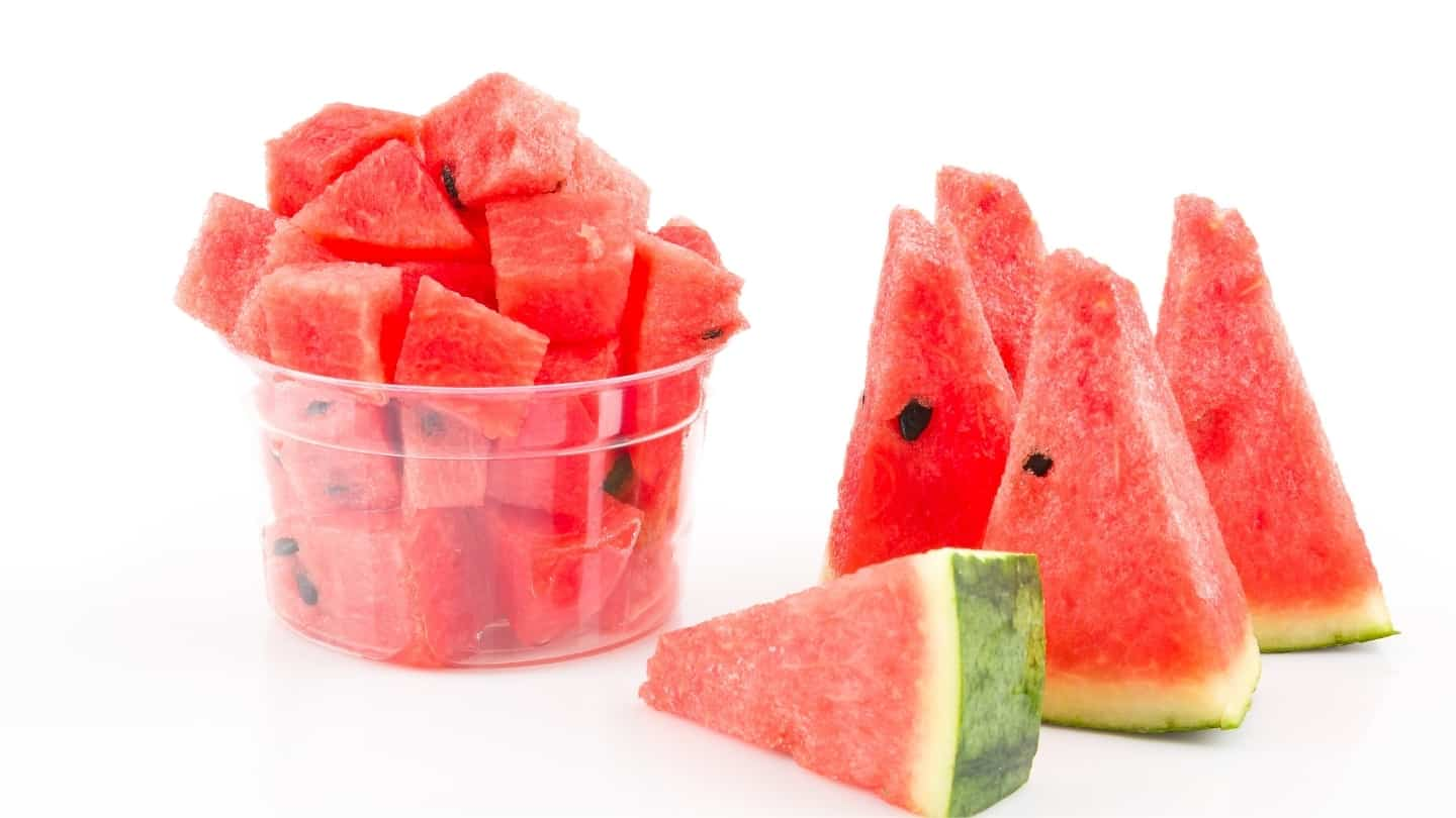 a cup of watermelon and 5 slices of watermelon